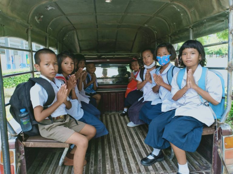 Kids at Baan Toong Krabam school on the bus