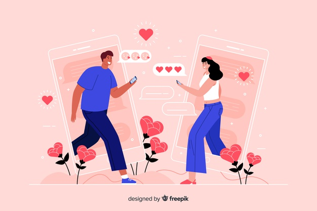 People facing each other while texting concept illustration