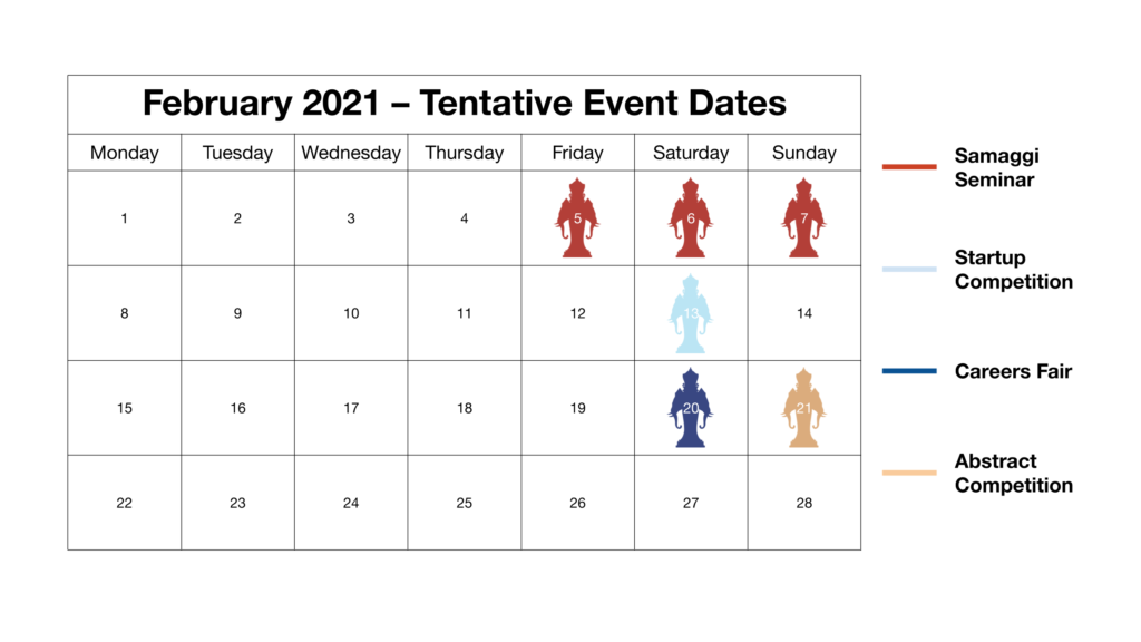 Tentative event dates for SACC2021